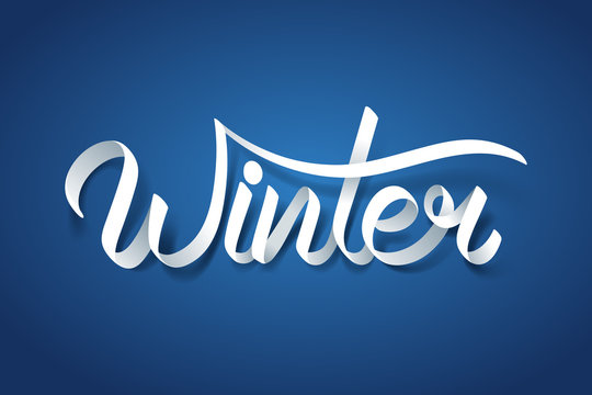Paper art of Winter calligraphy hand lettering