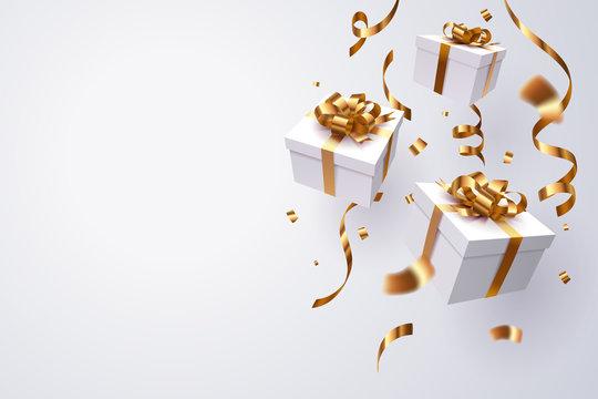 Falling gift box, Happy new year celebration.