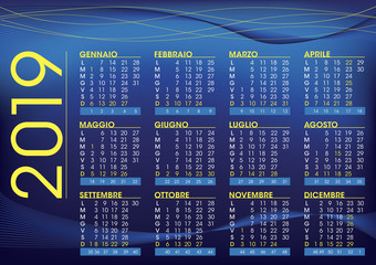 2019 calendar for italy, night mood colour and style