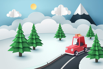 Paper art of red car stop at country road near forest and snow mountain, travel and season concept