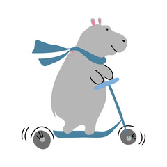 vector color grey riding scooter hippo animal simple scandinavian style dress scarf childish for your paper textile design
