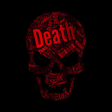 Horror words combine to be red skull, Halloween and T-shirt printing concept