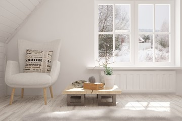 Mock up of white room with armchair and winter landscape in window. Scandinavian interior design. 3D illustration