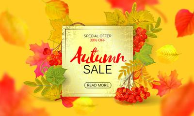 Banner for autumn sale in frame from leaves. Vector illustration EPS10