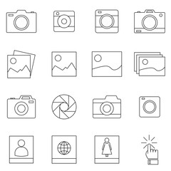 Camera and photo, vector line icons set. Thin line vector icons for website design and development, app development.