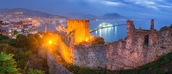 Panorama of Alanya at Night - Turkey