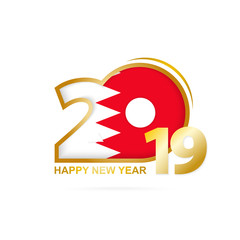 Year 2019 with Bahrain Flag pattern. Happy New Year Design.
