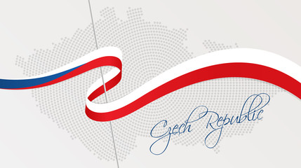 Wavy national flag and radial dotted halftone map of Czech Republic