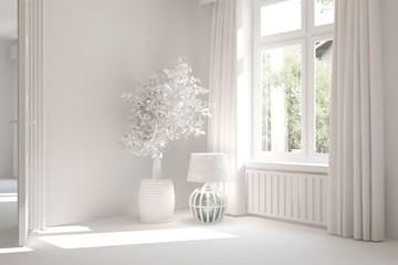 Mock up of white empty room. Scandinavian interior design. 3D illustration