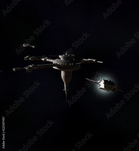 """Interstellar Spaceship Leaving a Deep-Space Space Station - science fiction illustration"" Stock photo and royalty-free images on Fotolia.com - Pic 225307457"