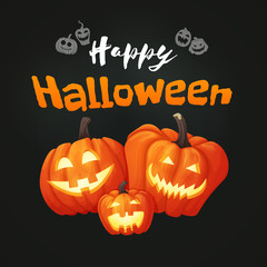 Happy halloween poster with three pumpkins with faces on the dark background.