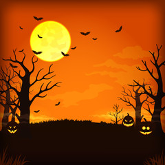 Spooky orange night background with full moon, clouds, bats, bare trees and pumpkins with glowing faces.