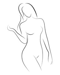 Female figure. Outline of young girl. Stylized slender body. Linear Art. Black and white vector illustration. Contour of a slender figure.