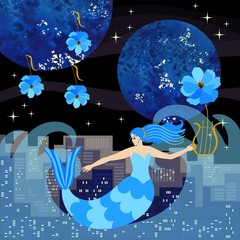 A pretty cartoon mermaid with a lyre in her hand floats on the waves of the sea against the backdrop of the night city.  Square vector illustration.