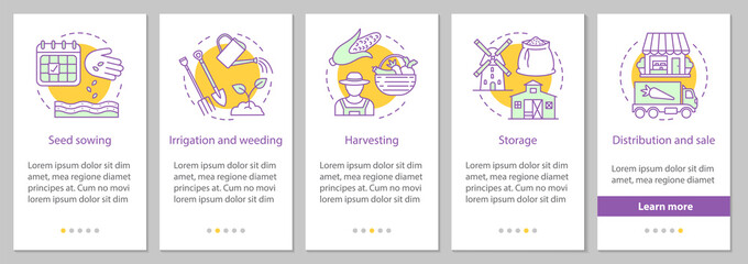 Agricultural business onboarding mobile app page screen with lin