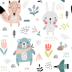 Cute forest animals seamless pattern