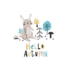 Autumn background with cute doodle rabbit