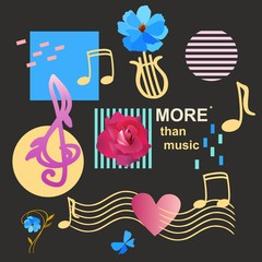 Fashionable musical background with treble and bass clefs, musical notes, lyre, abstract geometric figures, garden flowers and musical rulers passing through the heart in vector.
