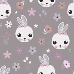Fototapete - Seamless pattern with rabbits and flowers