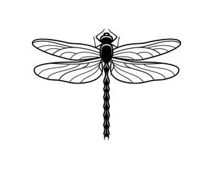 Black Dragonfly Sign Symbol Icon Logo Vector
