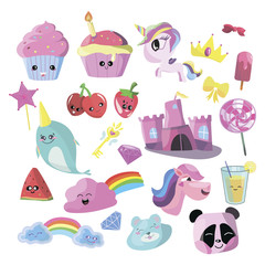 Vector illustration set for girl. Collection of stylized drawings for the princess. Unicorn. Rainbow.