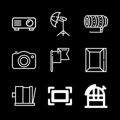 photography icons set with picture camera, observatory and flag vector set