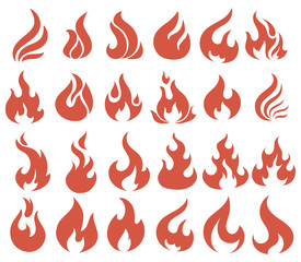 Vector set of flame. A collection of stylized fires. Abstract fire.
