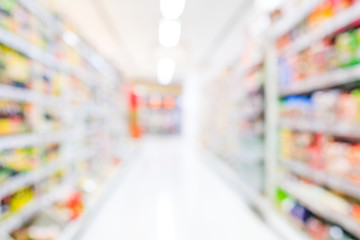 Blurred background, blur grocery supermarket at shopping mall background, business concept