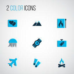 Journey icons colored set with jellyfish, the mountains, matches and other matchbox