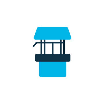 Draw well icon colored symbol. Premium quality isolated wellspring element in trendy style.