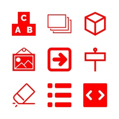 square icons set with list of three items with squares and lines, cubes and rectangle of commercial signal on a pole vector set