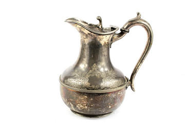 Quirky Vintage Antique Silver Kettle Teapot on White Background