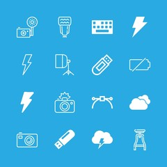 16 flash icons with pendrive and cmera empty battery in this set