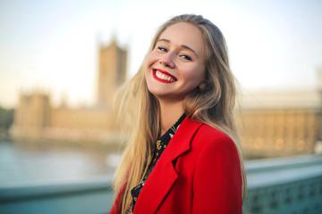 Photo sur Plexiglas Londres Cute girl visiting London