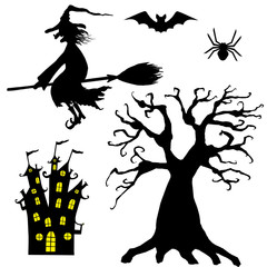 Halloween silhouettes. Set of witch, spider, bat, tree, and castle