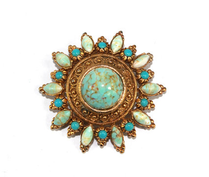 Vintage Necklace Brooch Antique Jewellery on White Background