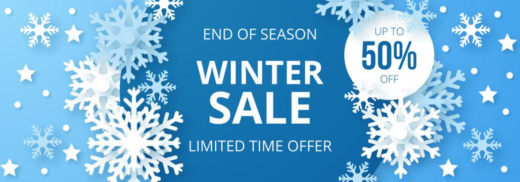 Winter sale banner. Origami snowfall. Vector Illustration.