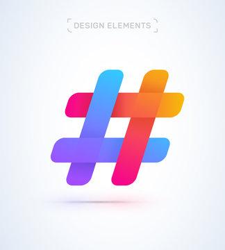 Hash tag simple origami paper icon. Logo material design