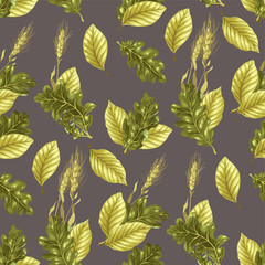Seamless vector pattern with leaves and rye