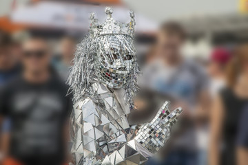 masquerade, holiday, Girl in a suit of metal and mirrors