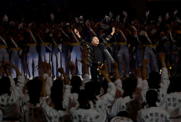 South Korean rapper PSY performs during the 70th anniversary of Armed Forces Day at the War Memorial of Korea in Seoul