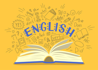 English. Open book with language hand drawn doodles and lettering on yellow background. Education vector illustration.