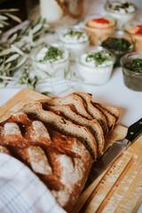 fresh bread on a wedding