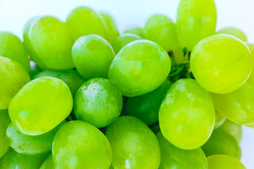A bunch of the green grape isolated on white background. Grape close up backdrop.