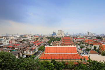 High angle of view the Wat Saket (Golden mount pagoda Temple) in bangkok city.