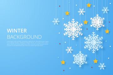 Winter design background. Origami snowfall. Vector Illustration.