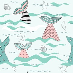 Vector seamless pattern with a mermaid tails and seashells