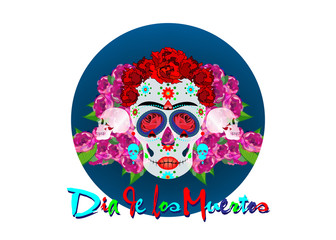 Mexican skull, Calavera with flowers. Decoration for Day of the Dead, Dia de los Muertos. Halloween poster background, greeting card or t-shirt design. Vector skulls diadem isolated on white