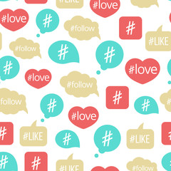 Colorful hashtag bubble icons seamless pattern design. Vector illustration background