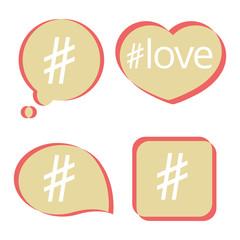 Wall Mural - Pastel color hashtag post social media vector icons set illustration